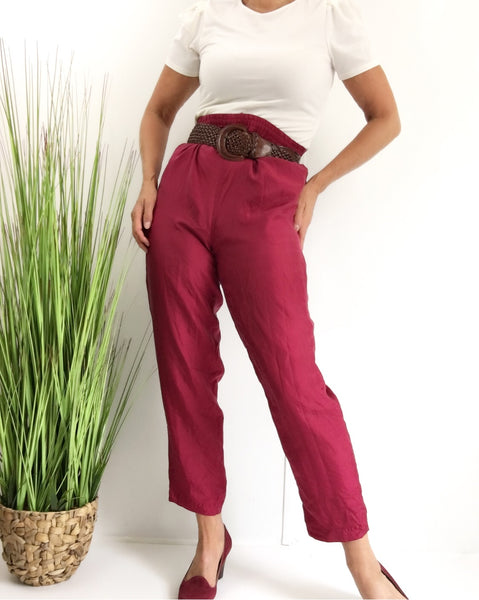 Vintage Maroon Silk Windbreaker Drawstring Pants