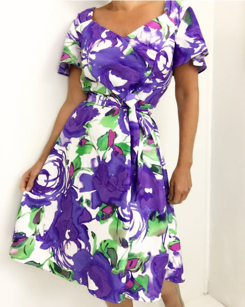 Vintage Watercolor Abstract Floral Print Dress