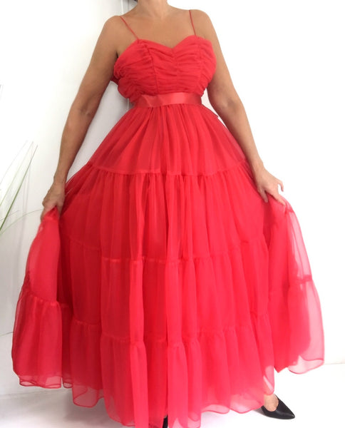 Vintage 70s Lipstick Red Tulle Gown