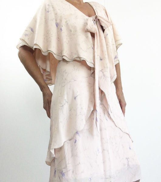 Vintage 1970's HOLLY HARP Soft Pink Tiered Silk Capelet Dress