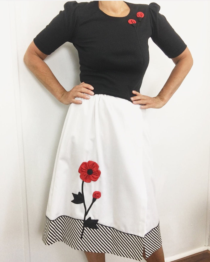Vintage 1970's Skirt Shirt Top Blouse Rose applique Catherine Carr - Dead Stock