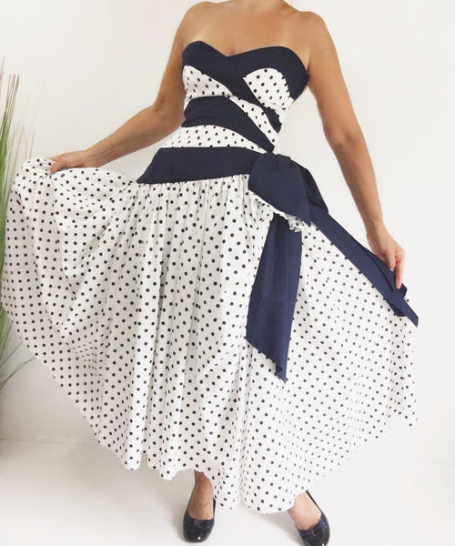 Vintage Victor Costa Blue & White Polka Dot Strapless Tea Dress