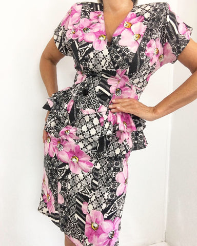 Vintage Geo Floral Print Peplum Pencil Skirt Dress