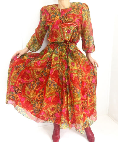 Vintage Diane Freis Silk Abstract Psychedelic Print Dress W/Sash