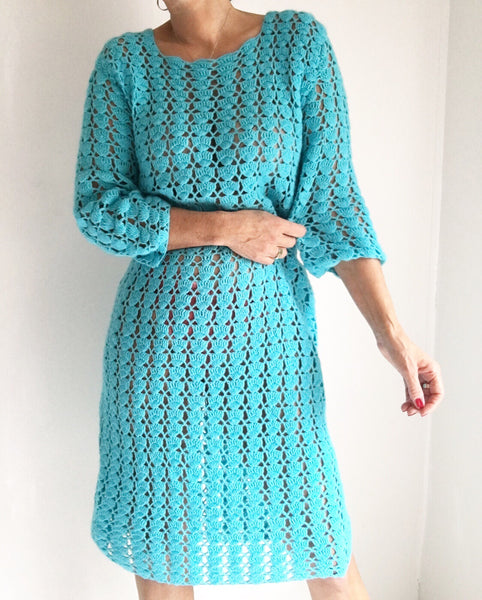 Vintage Turquoise 80s Crochet Sweater Dress
