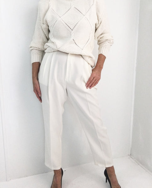 Vintage Ivory Pleated High Rise Gabardine Dress Pants