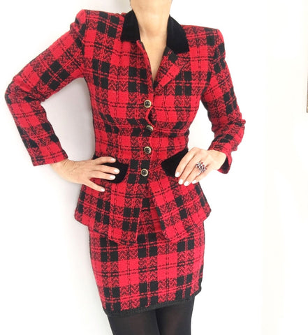Vintage Tartan Plaid Mini Skirt Blazer Set
