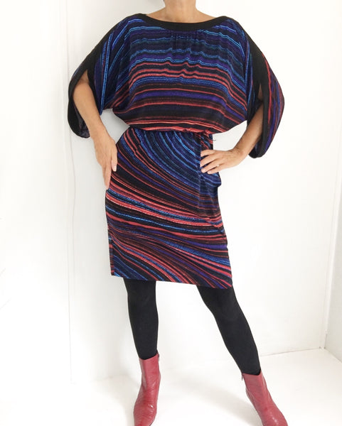 Vintage Boatneck Angel sleeves Minidress Tunic
