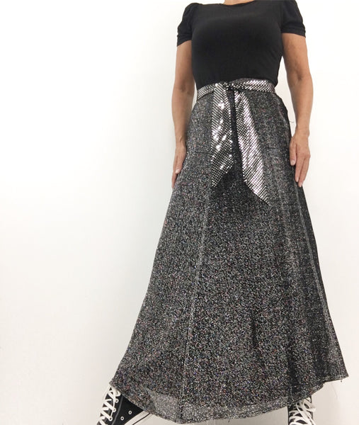 Vintage 70s Lurex Black Silver Maxi Disco Skirt