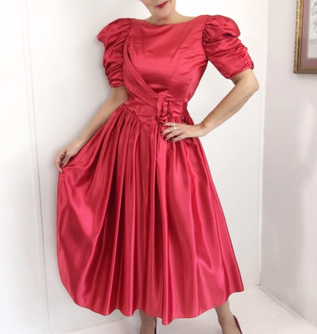 Vintage Ruby Red Christmas Carol Dress