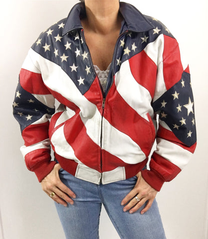 Vintage Michael Hoban Stars & Stripes Leather Biker Jacket
