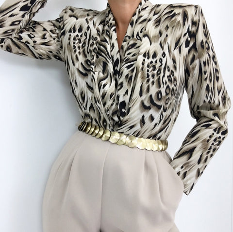 Vintage 1980's Ivory Tan Animal Print Jumpsuit