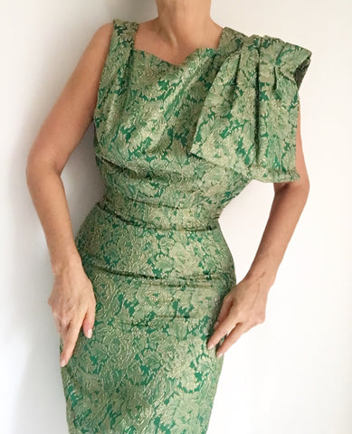 Vintage 50s Green Gold Brocade Wiggle Dress