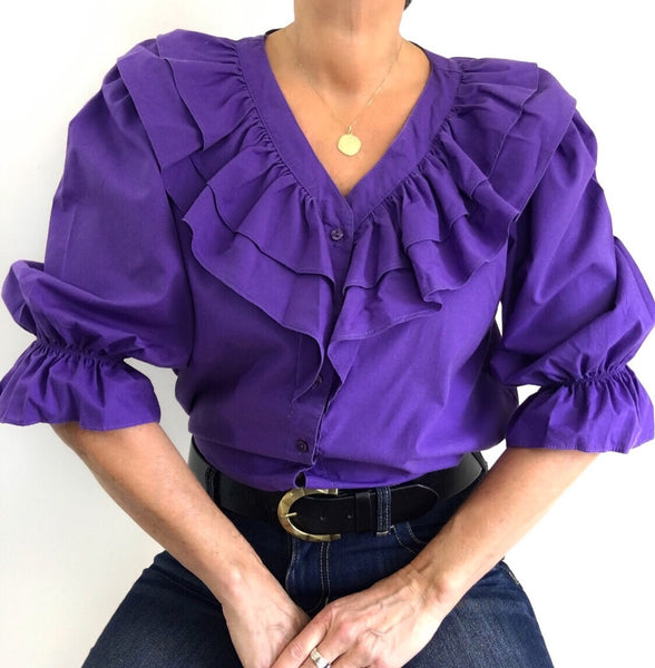 Vintage 70s Purple Ruffled Blouse W/ Puffled Sleeves