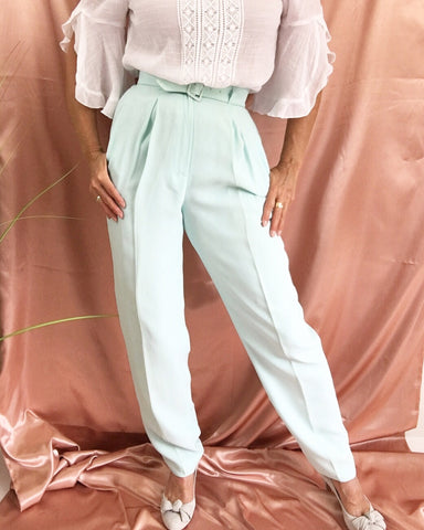Vintage High Waisted Mint Business Pants Deadstock