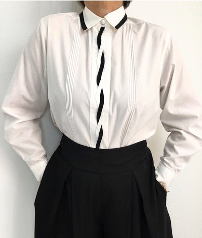 Vintage Classic White Pleated Blouse W/Corded Black Trimming