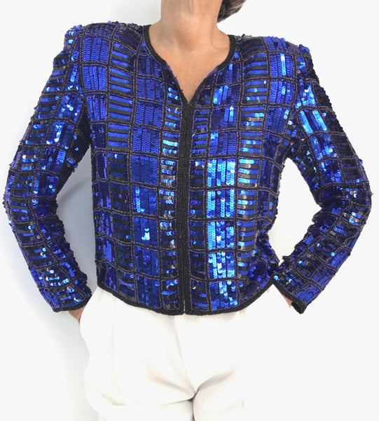 Vintage Midnight Blue Heavily Sequined Silk Evening Jacket