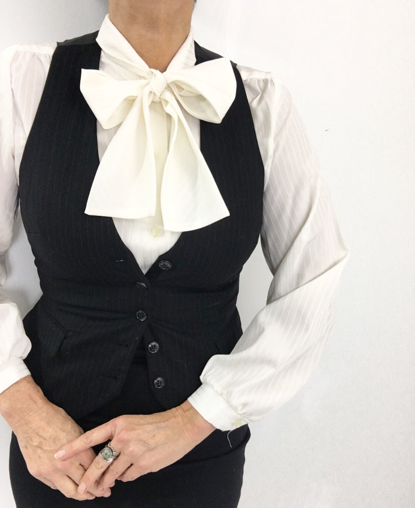 Classic Vintage Off White Striped Necktie Blouse