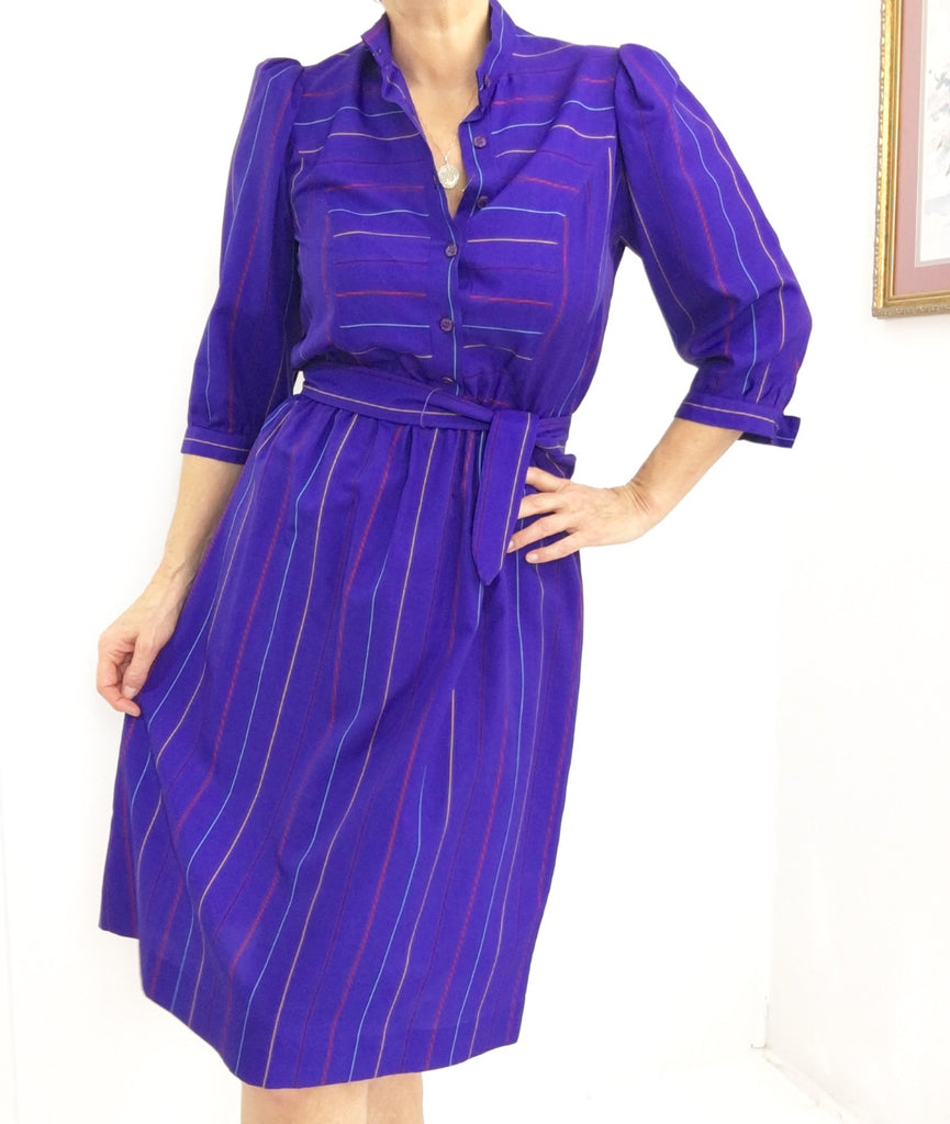 Vintage High Neck Striped Secretary Dress In Purple Blue