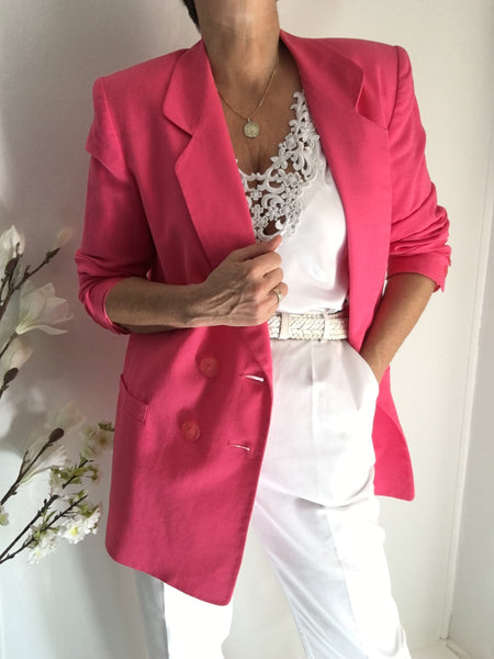 Vintage Double Breasted Hot Pink Linen Blend Blazer