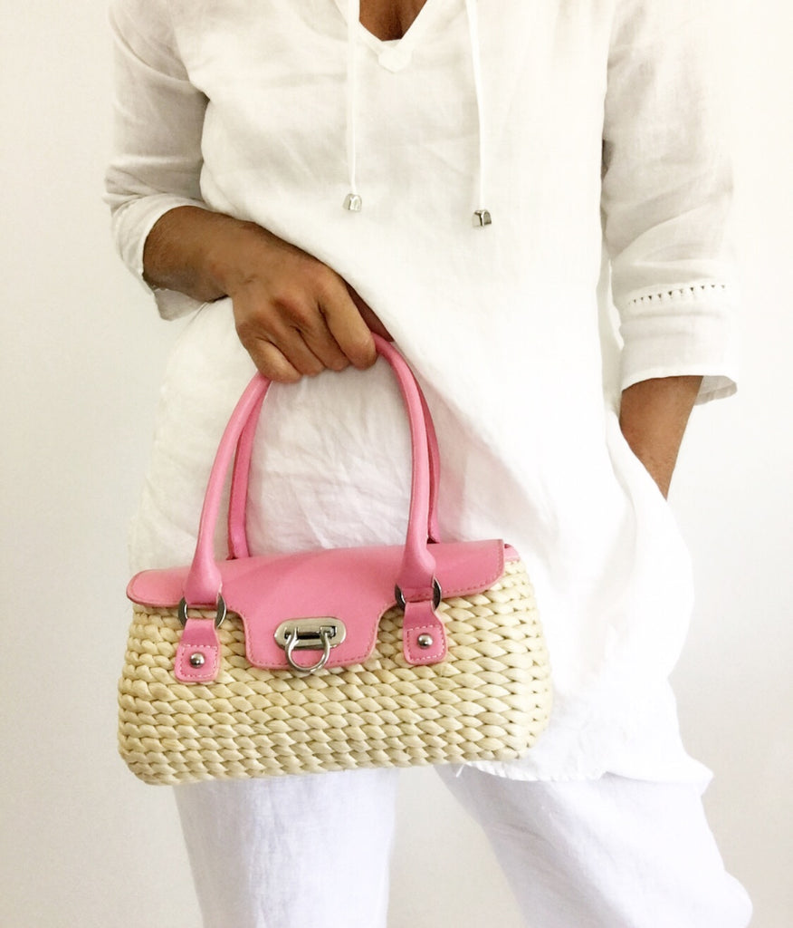 Vintage Little Wicker Purse Basket W/Pink Handles