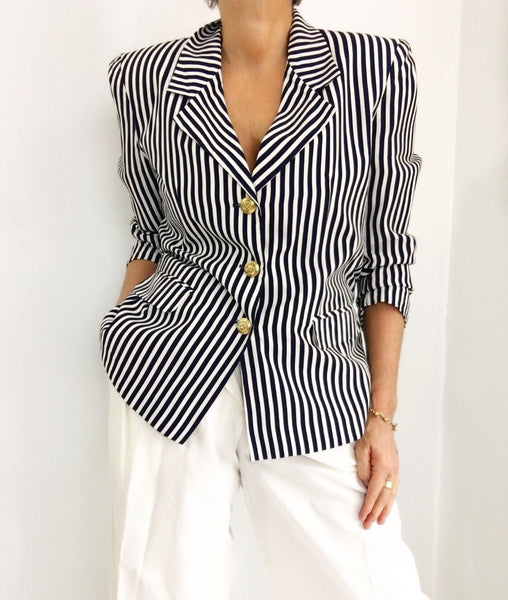 Vintage Maritime Navy Blue Striped Classic Blazer