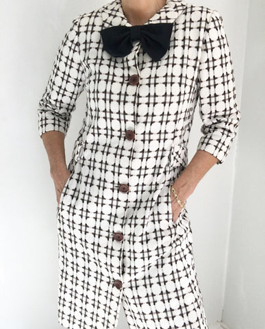 Vintage 60s Mod Checked Coat Dress W/Bow