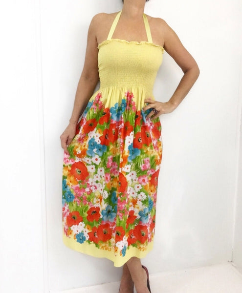 Vintage 70s Colorful Poppy Print Summer Dress