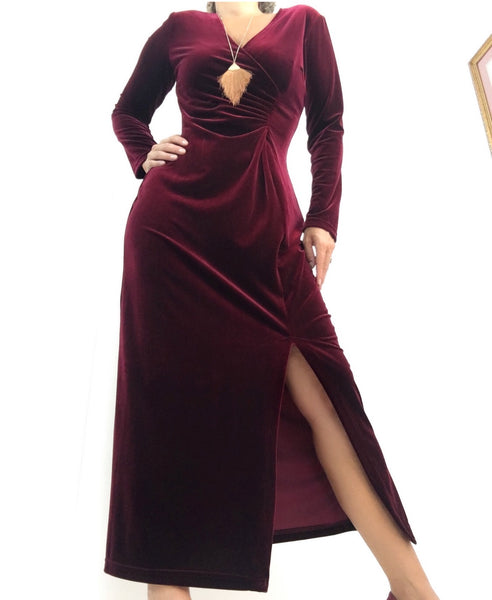 Vintage Elegant Velvet Burgundy Evening Dress