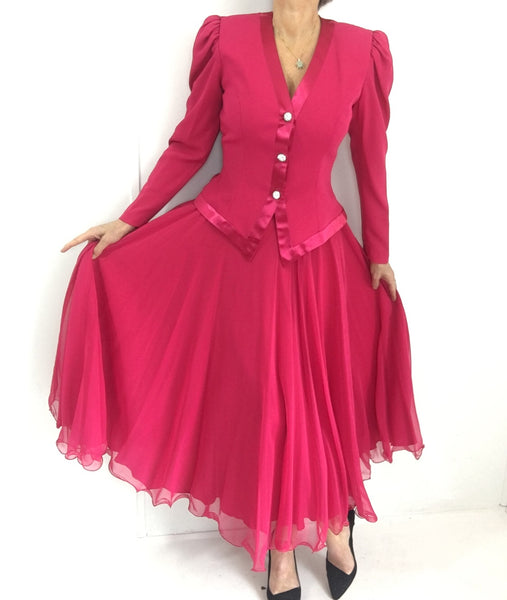 Deadstock! Vintage Hot Pink Chiffon Evening Ensemble