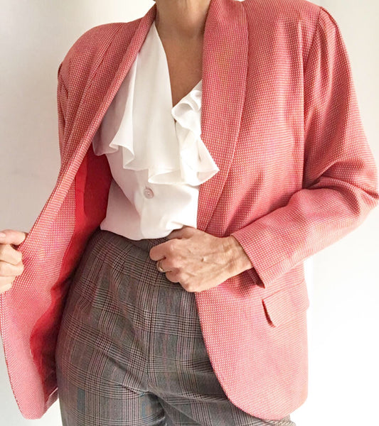 Vintage Halston Oversized Blazer checked red and white