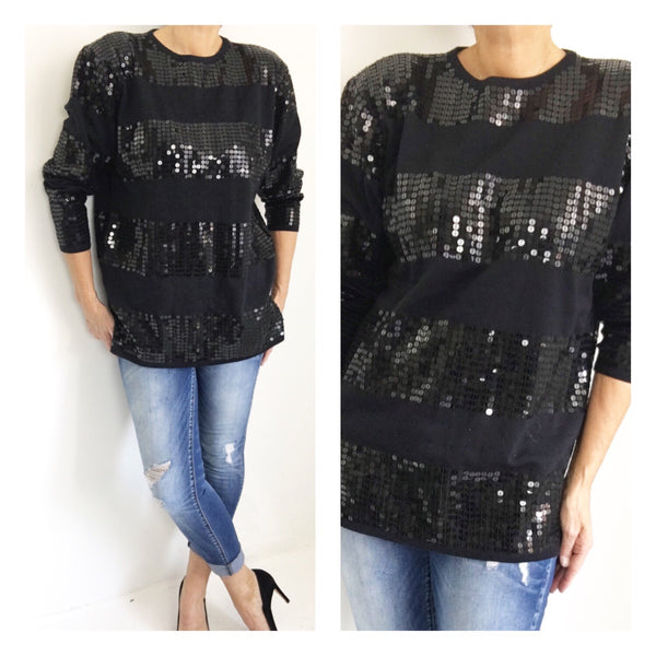 Vintage Black Sequined Casual Evening Sweater