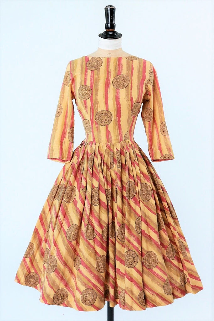 Vintage 1950s Cotton Novelty Print Dress Under The Sea Medallions