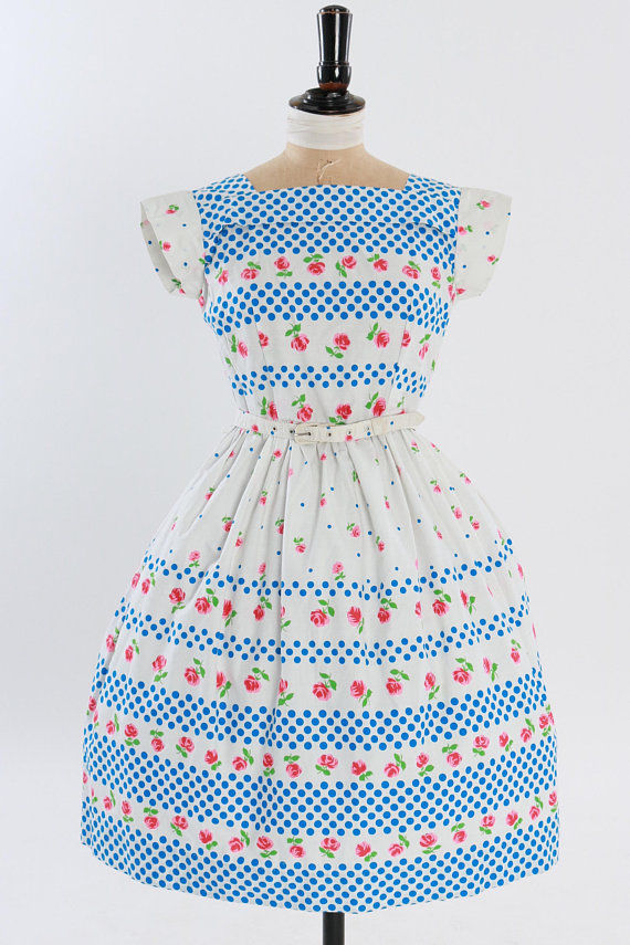Vintage 1950s Novelty Print Striped Cotton Dress W/ Rose Buds and Polka Dots