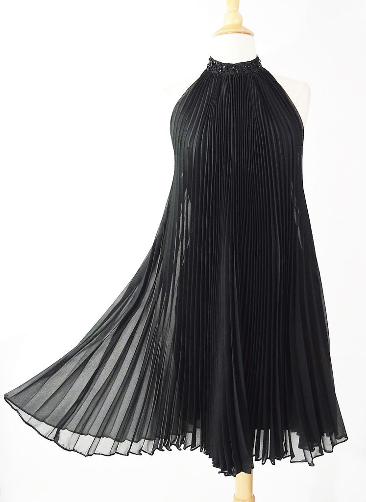 Vintage 1960's Black Chiffon Halter Accordion Pleated Cocktail Dress