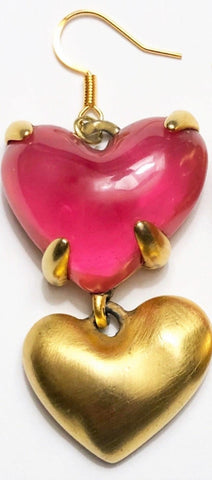 Vintage Large GIVENCHY Haute Couture Pink Lucite HEART & Brushed Gold Drop Earrings Signed