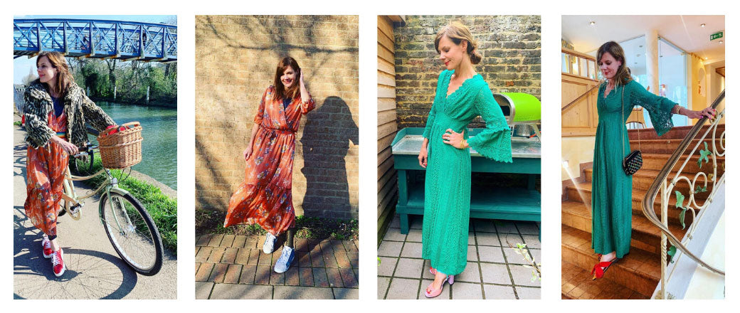 Influencer Dana and the red shoes wearing Marie & Lola dresses