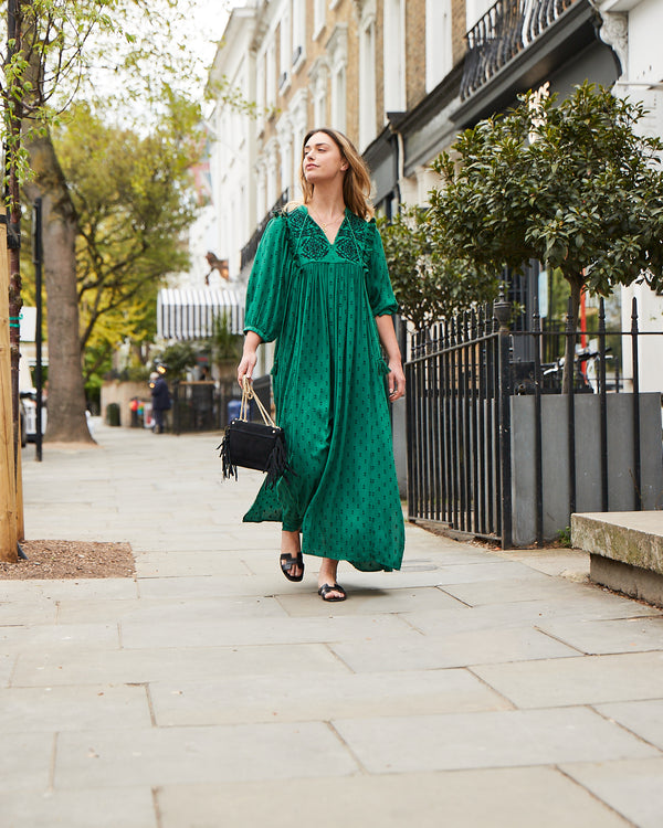 CELESTE MAXI DRESS IN EMERALD GREEN