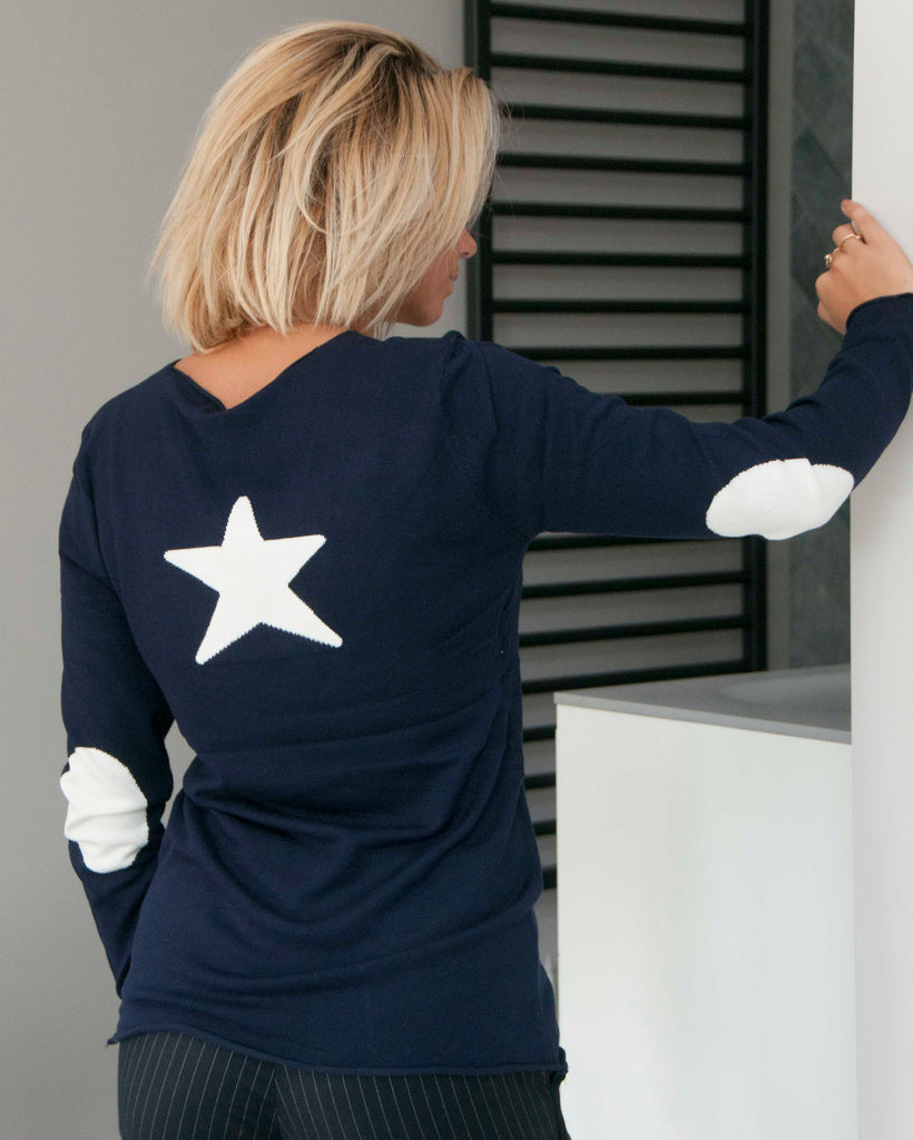 CECILE STAR JUMPER IN NAVY