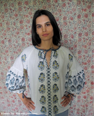 ZAHARA TOP IN BLUE WITH EMBROIDERY