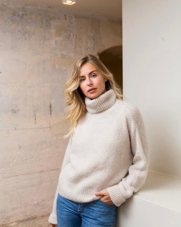 NINA TURTLENECK JUMPER IN ECRU