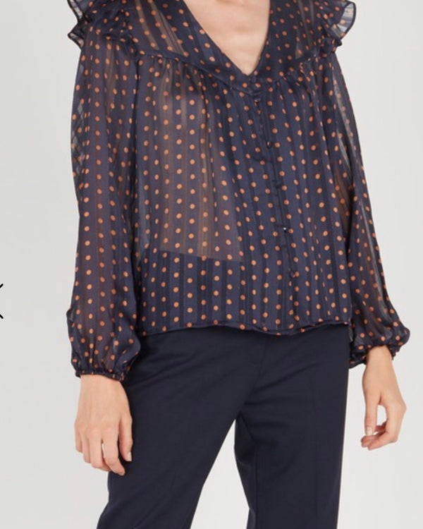 POLKA DOT TOP IN NAVY