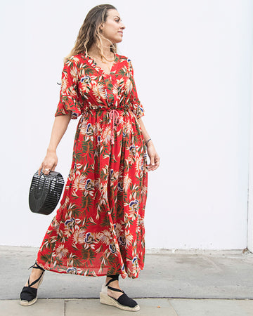 LENI MAXI DRESS IN RED -1 left in size M
