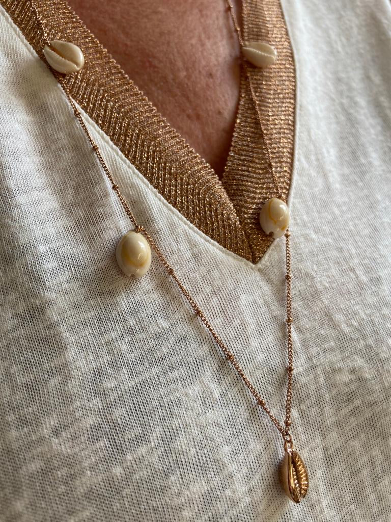 SHELL NECKLACE IN ROSE GOLD