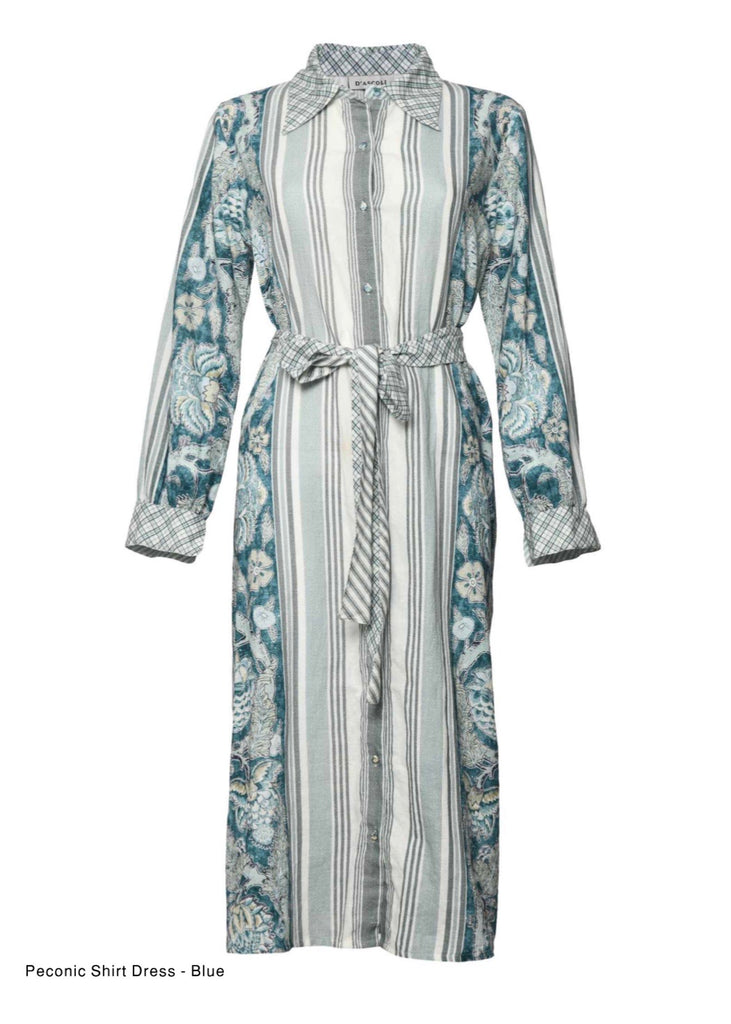PECONIC SHIRT DRESS IN BLUE