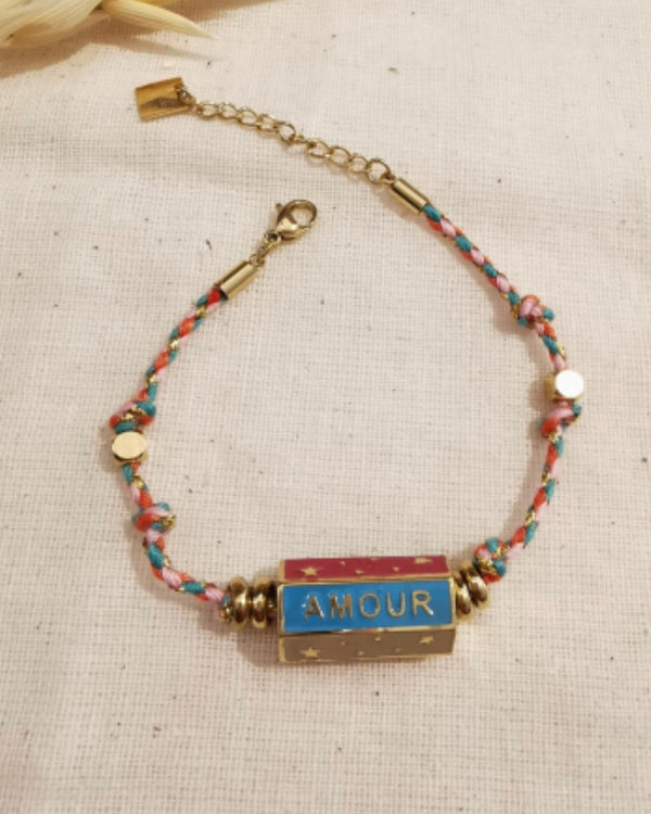 HAPPY AMOUR DREAM BAR BRACELET WITH PINK ROPE