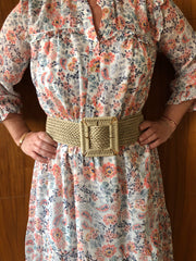 BEIGE STRETCH WITH SQUARE BUCKLE BELT