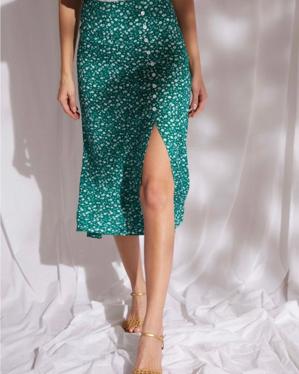 IBIZA FLORAL MIDI SKIRT IN EMERALD GREEN