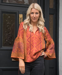 PRATO SILK TOP IN ORANGE