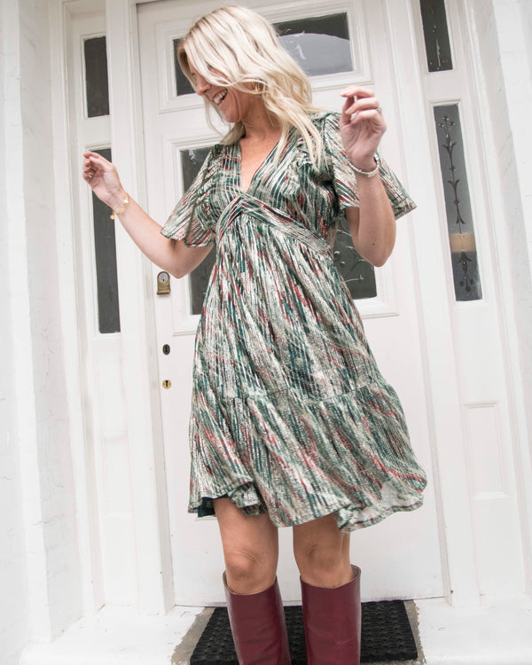SUNSET DRESS IN SILVER GREEN